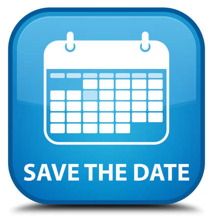 event planner: Save the date cyan blue square button