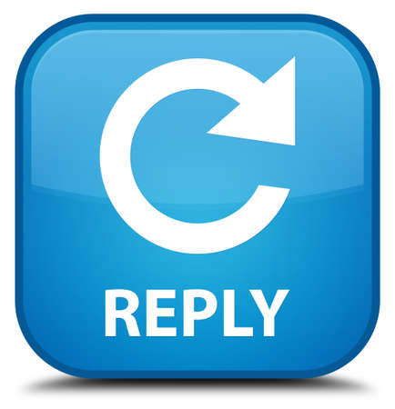 rotate: Reply (rotate arrow icon) cyan blue square button Stock Photo