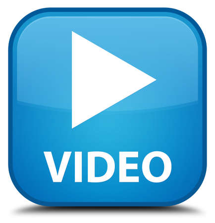 blue button: Video cyan blue square button