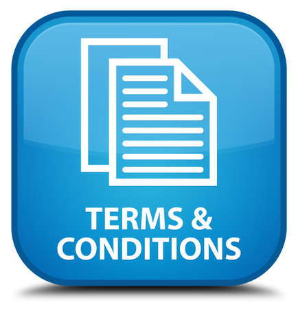 term and conditions: Terms and conditions (pages icon) cyan blue square button