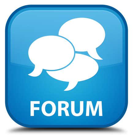 comments: Forum (comments icon) cyan blue square button