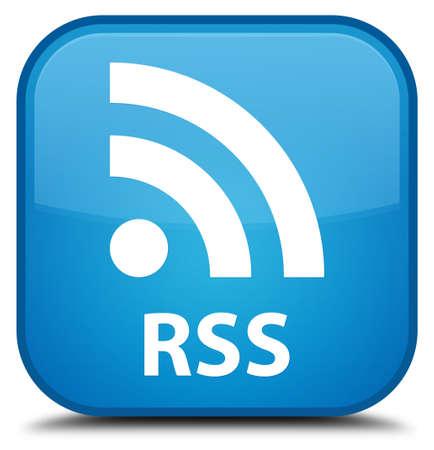 cyan: RSS cyan blue square button