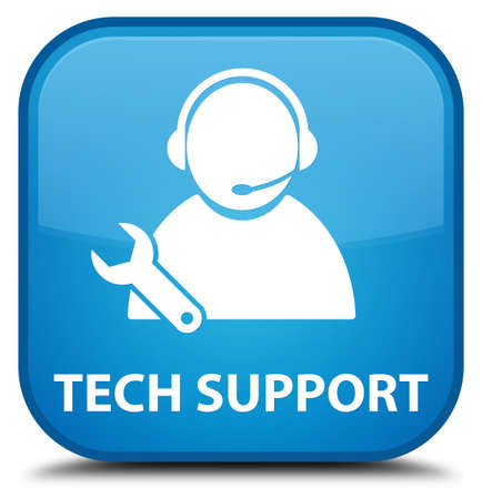 tech support: Tech support cyan blue square button Stock Photo