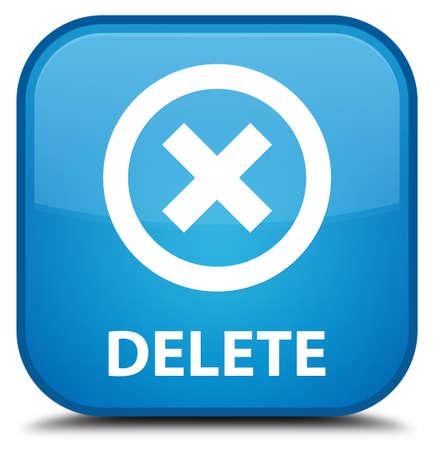delete: Delete cyan blue square button
