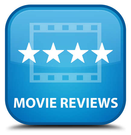 reviews: Movie reviews cyan blue square button