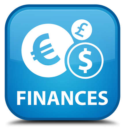 euro sign: Finances (euro sign) cyan blue square button