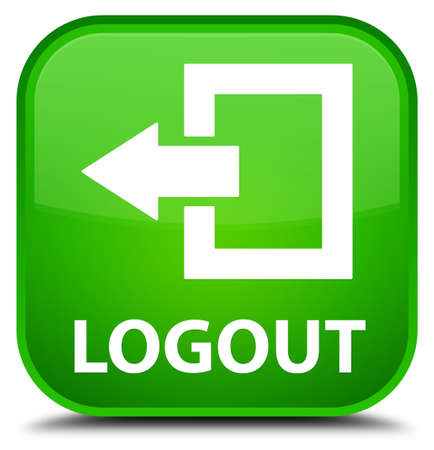 shut off: Logout green square button Stock Photo