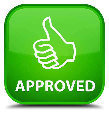 thumbs up: Approved (thumbs up icon) green square button Stock Photo