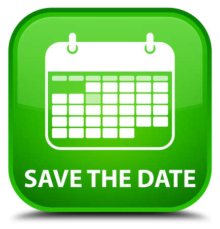date: Save the date green square button