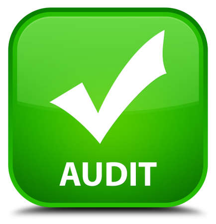 available: Audit (validate icon) green square button Stock Photo