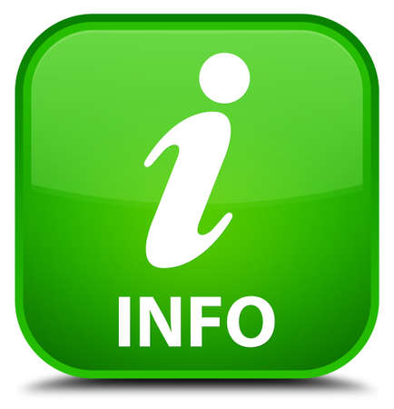 inform: Info green square button Stock Photo