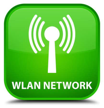 wlan: Wlan network green square button Stock Photo