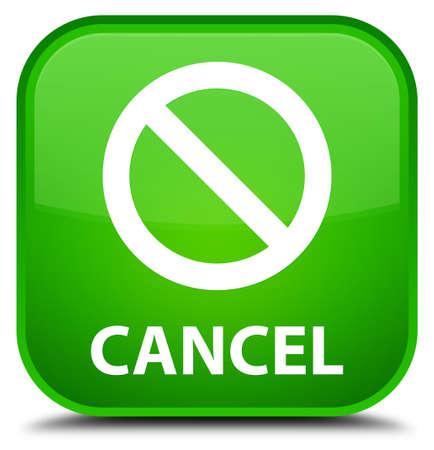 disagree: Cancel (prohibition sign icon) green square button Stock Photo