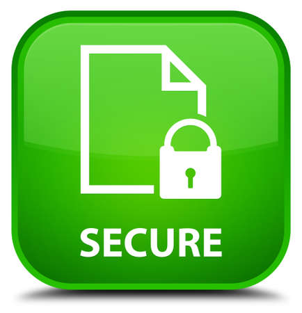 key hole shape: Secure (document page padlock icon) green square button Stock Photo