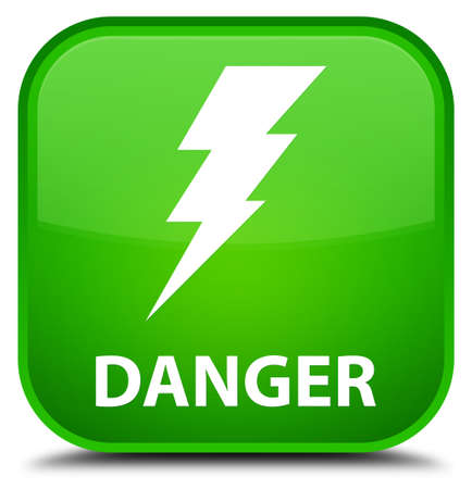 high voltage symbol: Danger (electricity icon) green square button Stock Photo