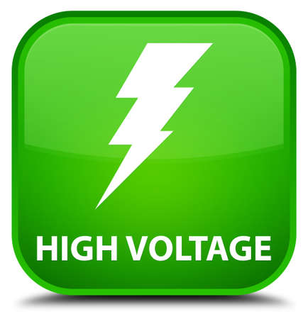 high voltage: High voltage (electricity icon) green square button Stock Photo