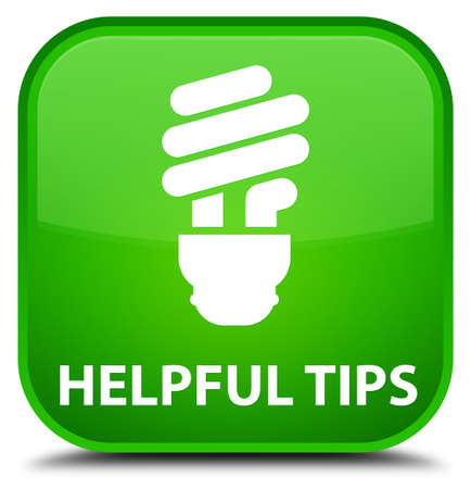 helpful: Helpful tips (bulb icon) green square button Stock Photo