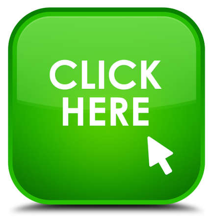 here: Click here green square button Stock Photo