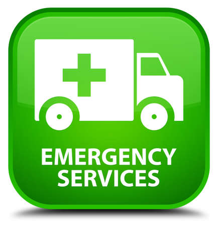 emergency services: Emergency services green square button