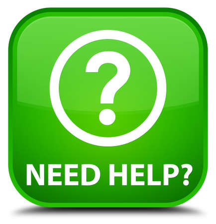 need help: Need help (question icon) green square button Stock Photo
