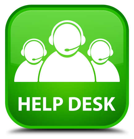 help desk: Help desk (customer care team icon) green square button