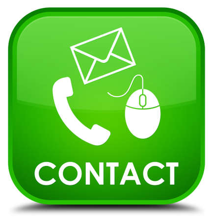 envelop: Contact (phone, email and mouse icon) green square button Stock Photo