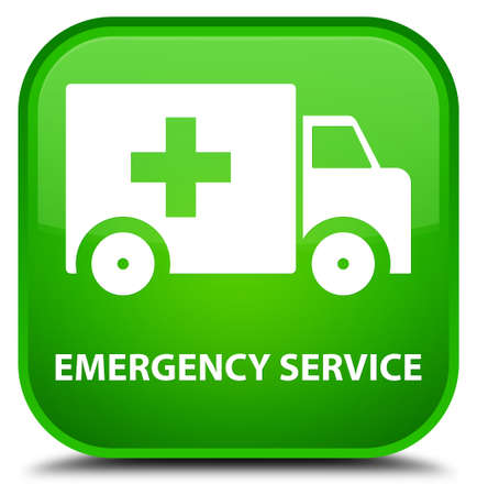 urgent care: Emergency service green square button