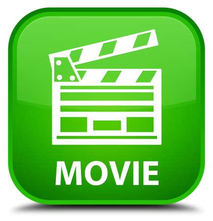 Movie (cinema clip icon) green square button Banco de Imagens
