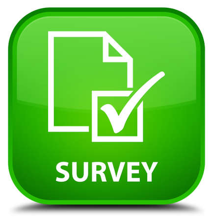 Survey green square button Stock fotó