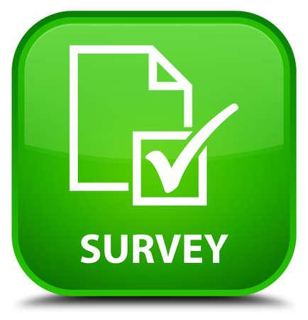 Umfrage grünes Quadrat-Taste Standard-Bild