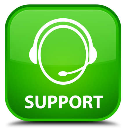 customer care: Support (customer care icon) green square button