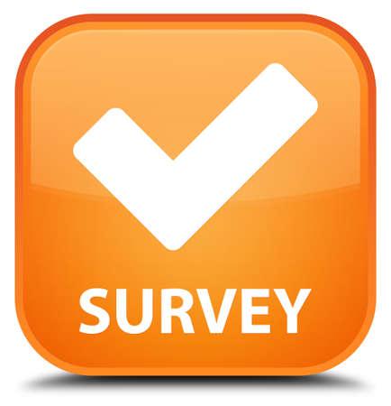 validate: Survey (validate icon) orange square button Stock Photo