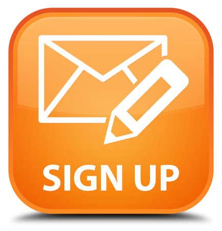 envelop: Sign up (edit mail icon) orange square button