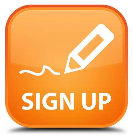 registry: Sign up orange square button Stock Photo