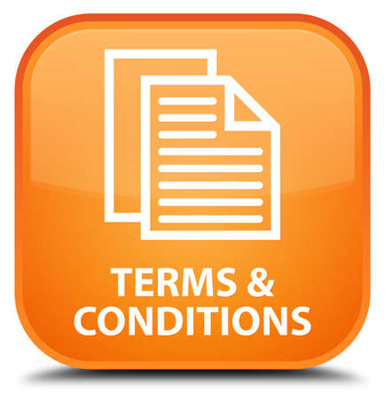 term and conditions: Terms and conditions (pages icon) orange square button Stock Photo