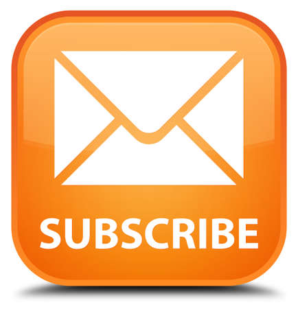 square button: Subscribe (email icon) orange square button Stock Photo