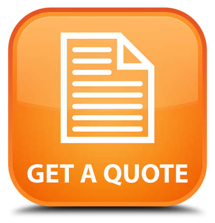 get in shape: Get a quote (page icon) orange square button Stock Photo