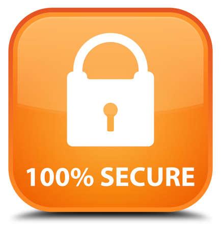 secure: 100% secure orange square button Stock Photo