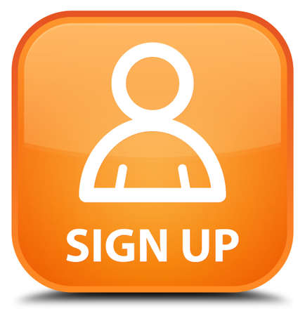 sign up: Sign up (member icon) orange square button Stock Photo