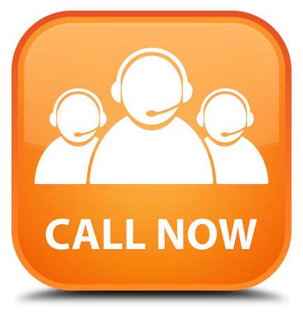 care: Call now (customer care team icon) orange square button Stock Photo