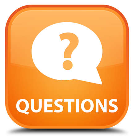 questions: Questions (bubble icon) orange square button