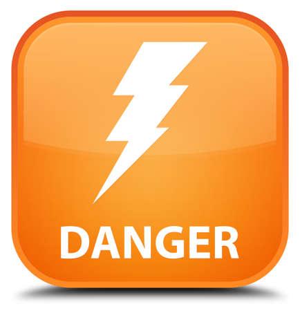 high voltage symbol: Danger (electricity icon) orange square button