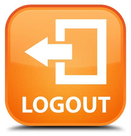 log off: Logout orange square button