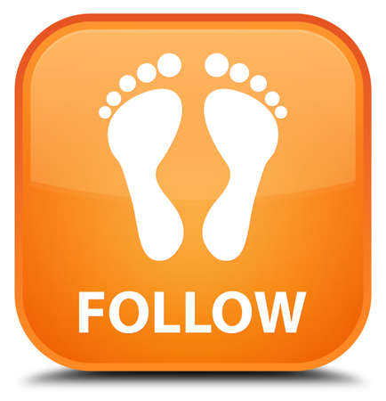 follow: Follow (footprint icon) orange square button Stock Photo