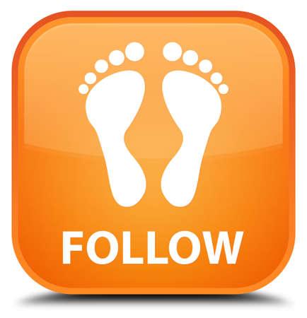 follow: Follow (footprint icon) orange square button Stock Photo