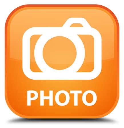 photo slide: Photo (camera icon) orange square button Stock Photo