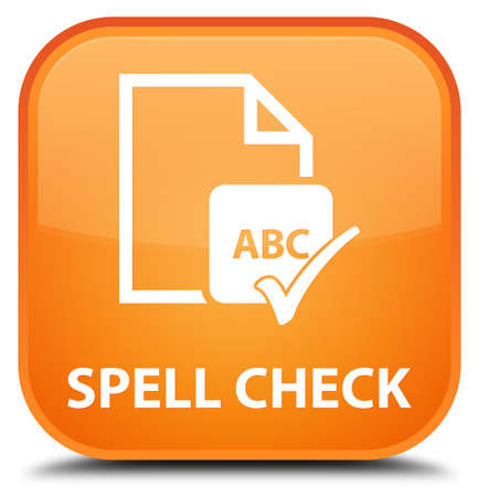 paper spell: Spell check document orange square button Stock Photo