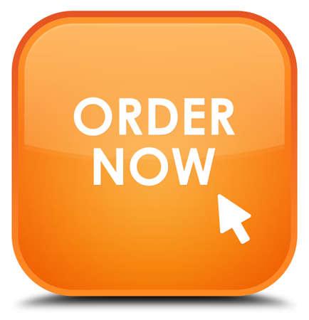 order now: Order now orange square button Stock Photo