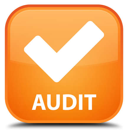 validate: Audit (validate icon) orange square button Stock Photo