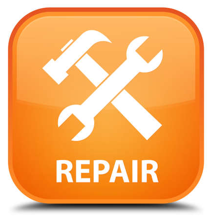 preference: Repair (tools icon) orange square button Stock Photo
